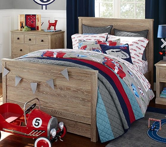 Block Stripe Quilted Bedding | Pottery Barn Kids | Car Themed Room ...
