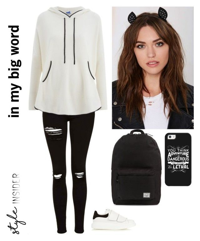 """""""#fashoin #dress #cute #black #white #sport #clothes #outerwear"""" by leenfaqiat on Polyvore featuring Topshop, Cocoa Cashmere, Alexander McQueen, Berry, Casetify and Herschel Supply Co."""