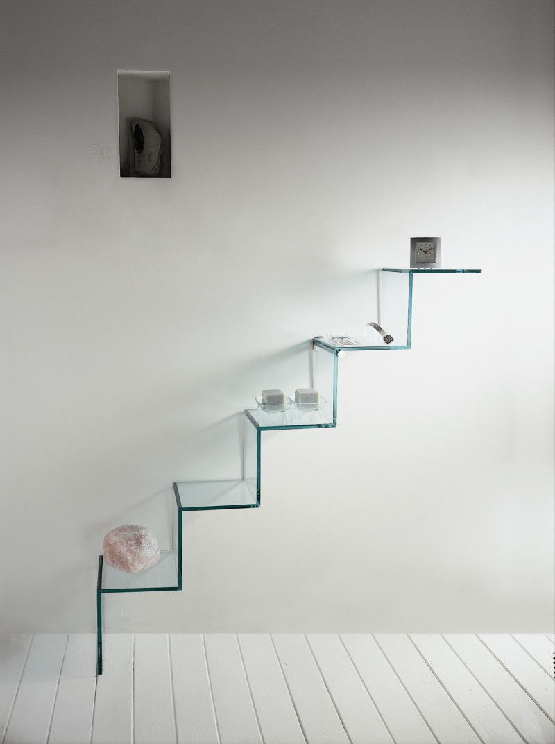 Adorable Bathroom Wall Shelves With Cool Stairs Shaped Hanging Frosted Gl Material Amusing Decor