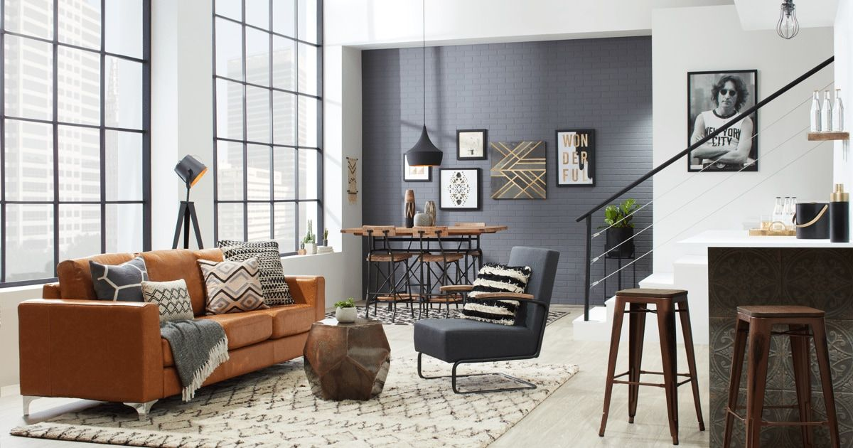 Industrial Loft Decorating Ideas For An Urban Feel Overstock Com In 2021 Industrial Style Living Room Industrial Decor Living Room Loft Decor
