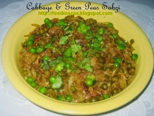 Shobhas food mazaa cabbage green peas sabzi vegetarian foods over 1000 recipes of all cuisines by shobha search or request for any recipe forumfinder Images