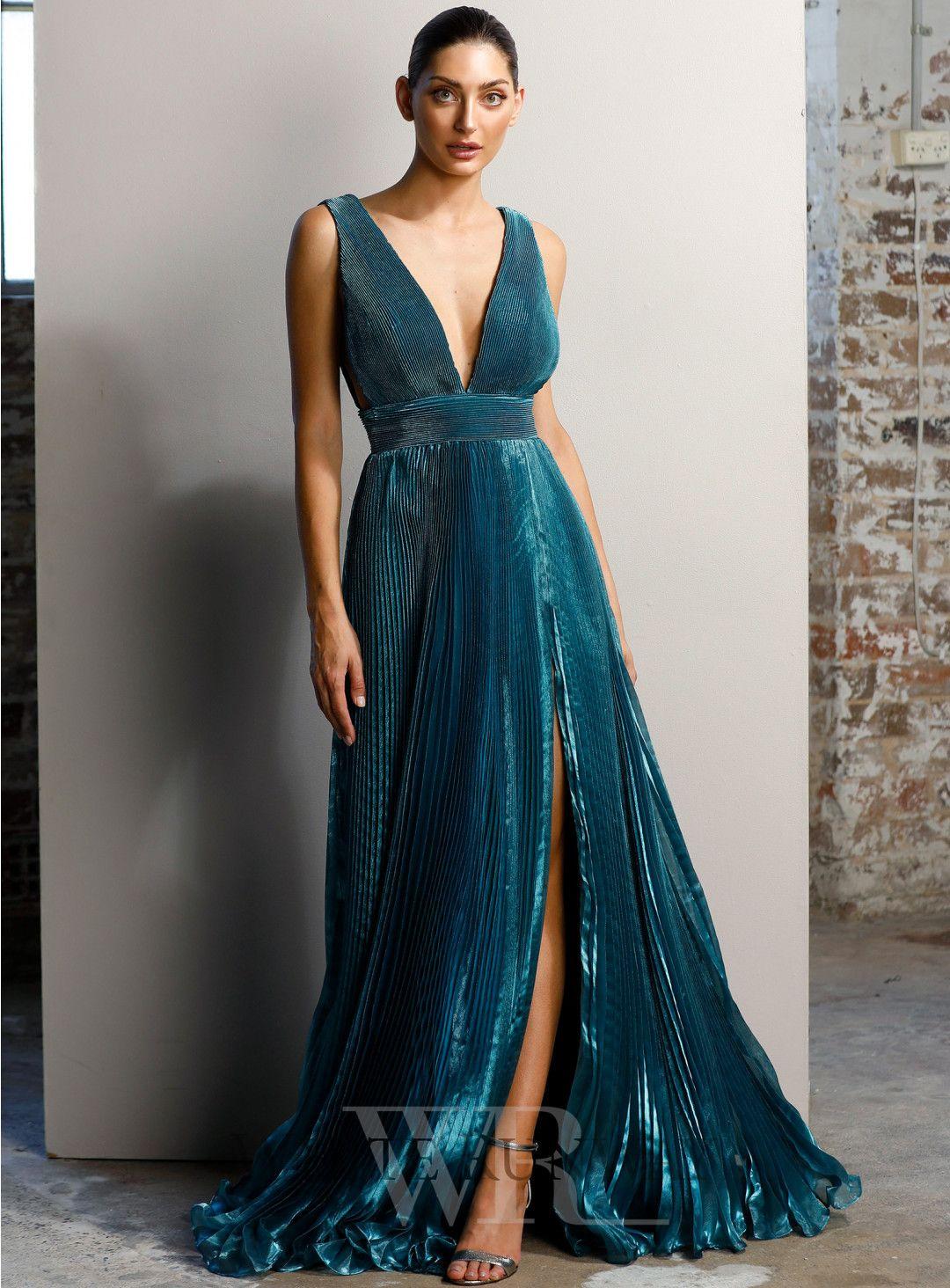 f8f24f70de Maeoni Dress. A beautiful full length dress by Jadore. A deep v-neck style  featuring flowy skirt and leg split.  weddinginspo  bridesmaidfashion  prom  ...