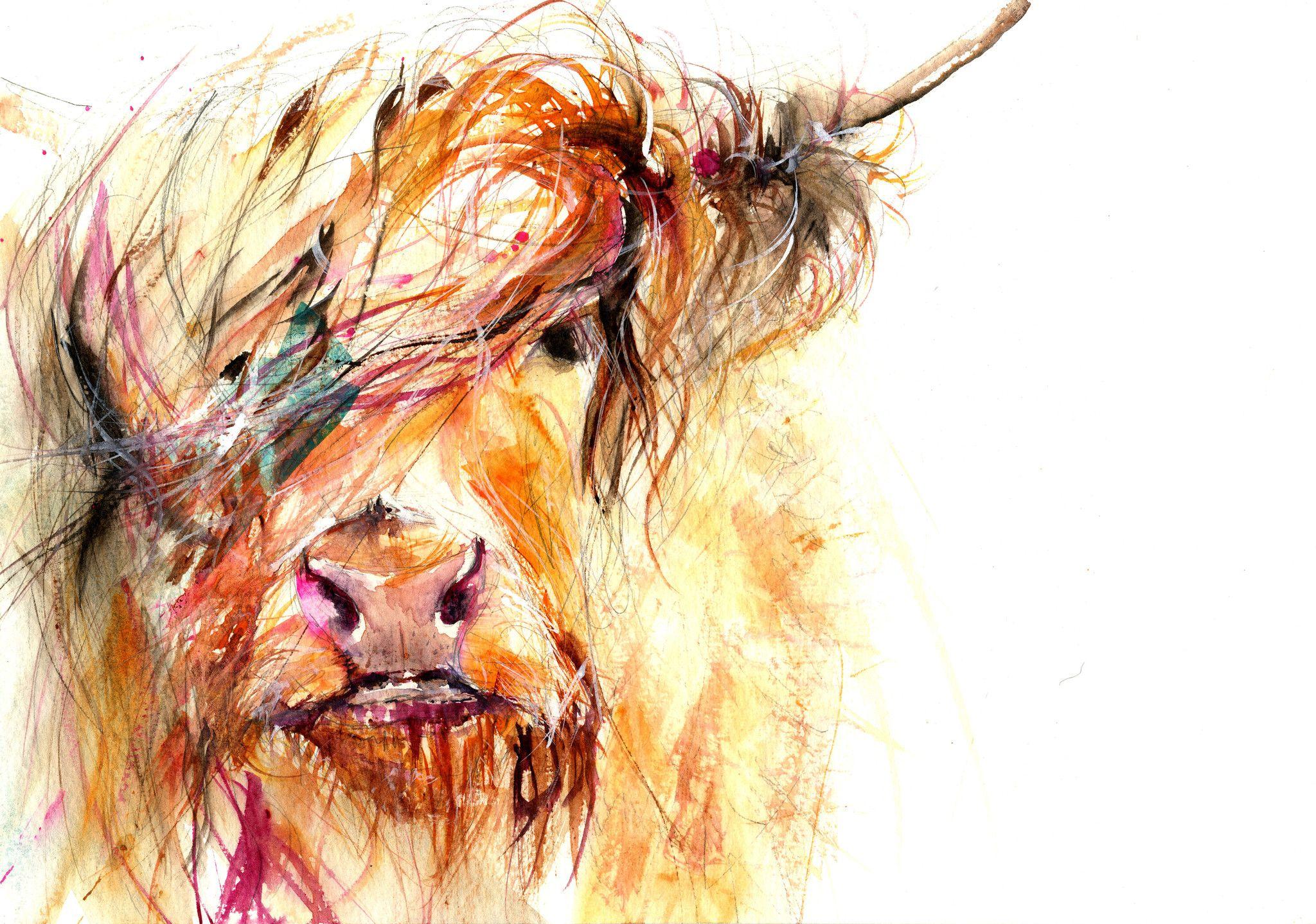 Jen Buckley Art - LIMITED EDITON PRINT Highland Cow   art drawings ...
