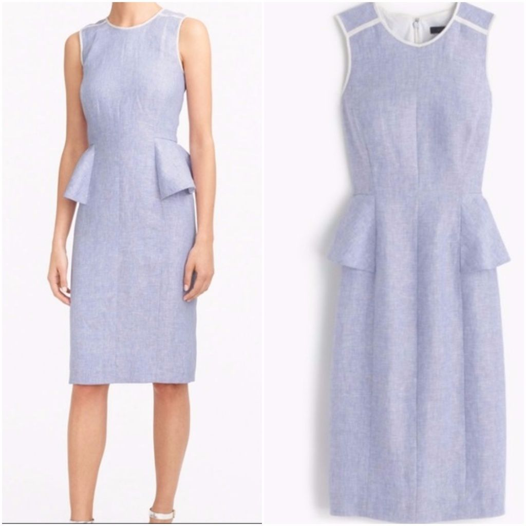 New J. Crew Blue Linen Peplum Dress