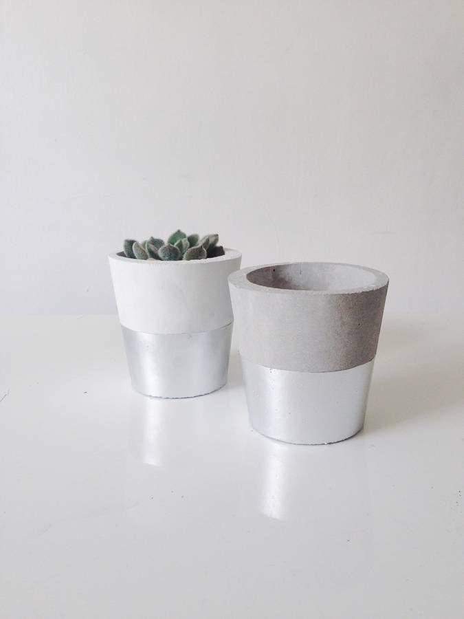 Silver Dipped Cement Mini Pot By Sort | Notonthehighstreet.com