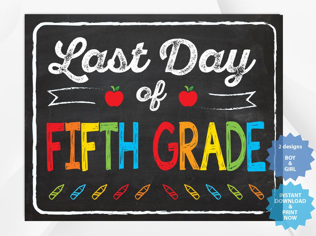 Last day of FIFTH GRADE, back to school sign, last day of ...