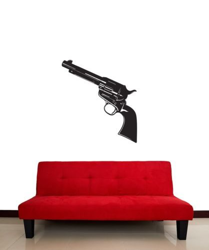 Wall Stickers Vinyl Decal Revolver Gun Weapon For Men z1212