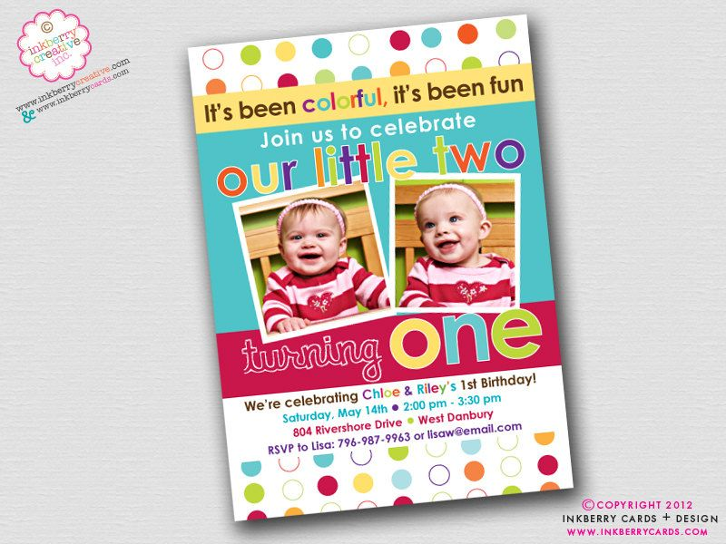 Colorful Fun Year Twins First Birthday Party Invitation