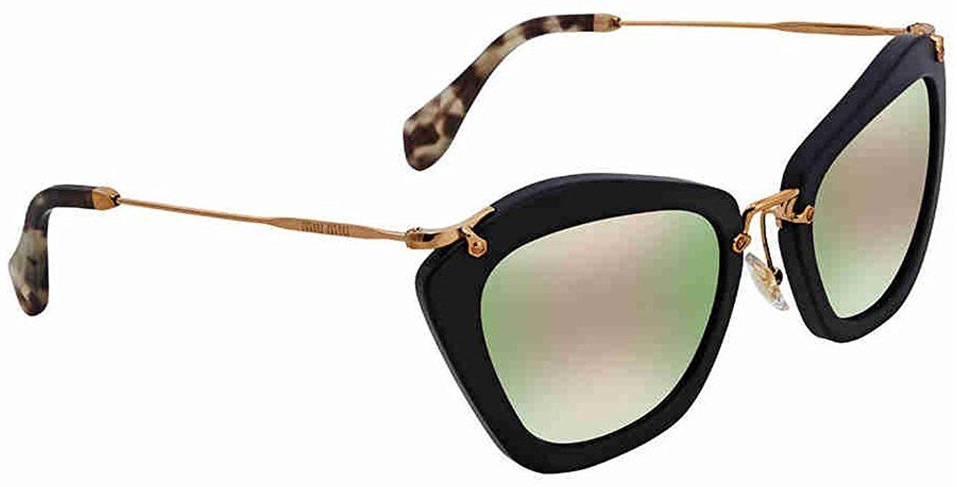 6be8b3cc24e Amazon.com  MIU MIU MU 10NS Women s Retro-Inspired Noir Sunglasses ...