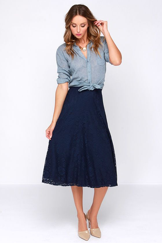 960ec42101c5f8 Lace in My Heart Navy Blue Lace Midi Skirt | Style, I'll never have ...