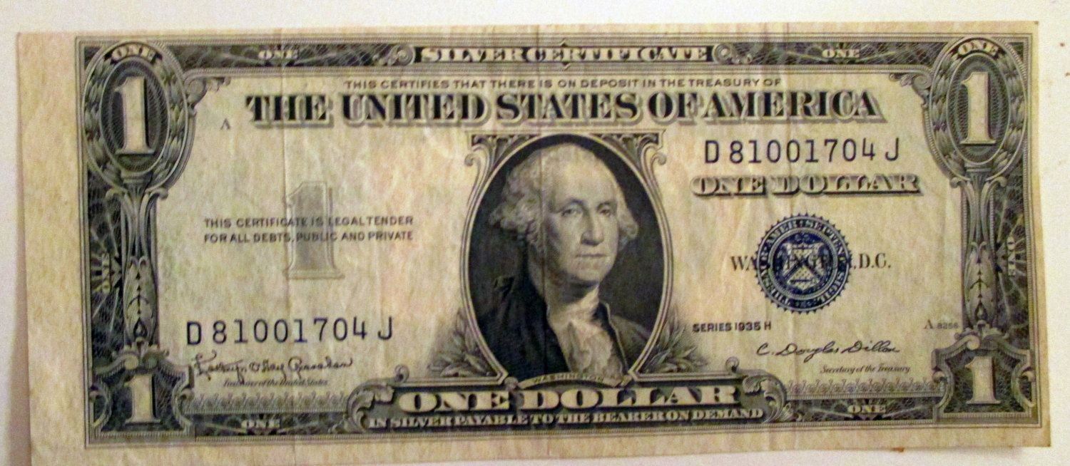 Silver Certificate ------- 1935 H----Error note--- One US Dollar ...