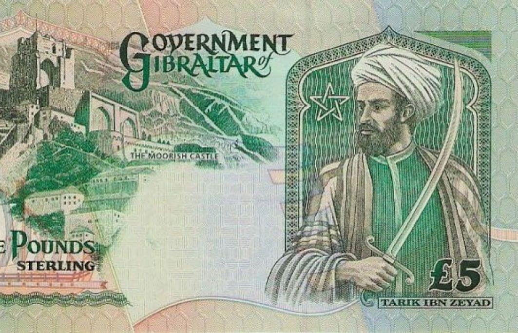 صورة القائد طارق بن زياد على عملة حكومة جبل طارق البريطانية Pound Sterling Sterling Moorish