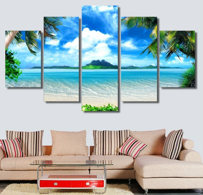 5 Pieces Multi Panel Modern Home Decor Framed Tropical Beach Palm Trees Wall Canvas Art