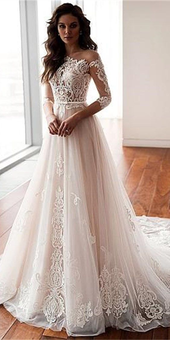 Grey Bridal Dresslace Wedding Dressesa Line Wedding Dressestulle Brial Gownsf0206 In 2020 Wedding Dress Trends Wedding Dress Long Sleeve Wedding Dresses Lace