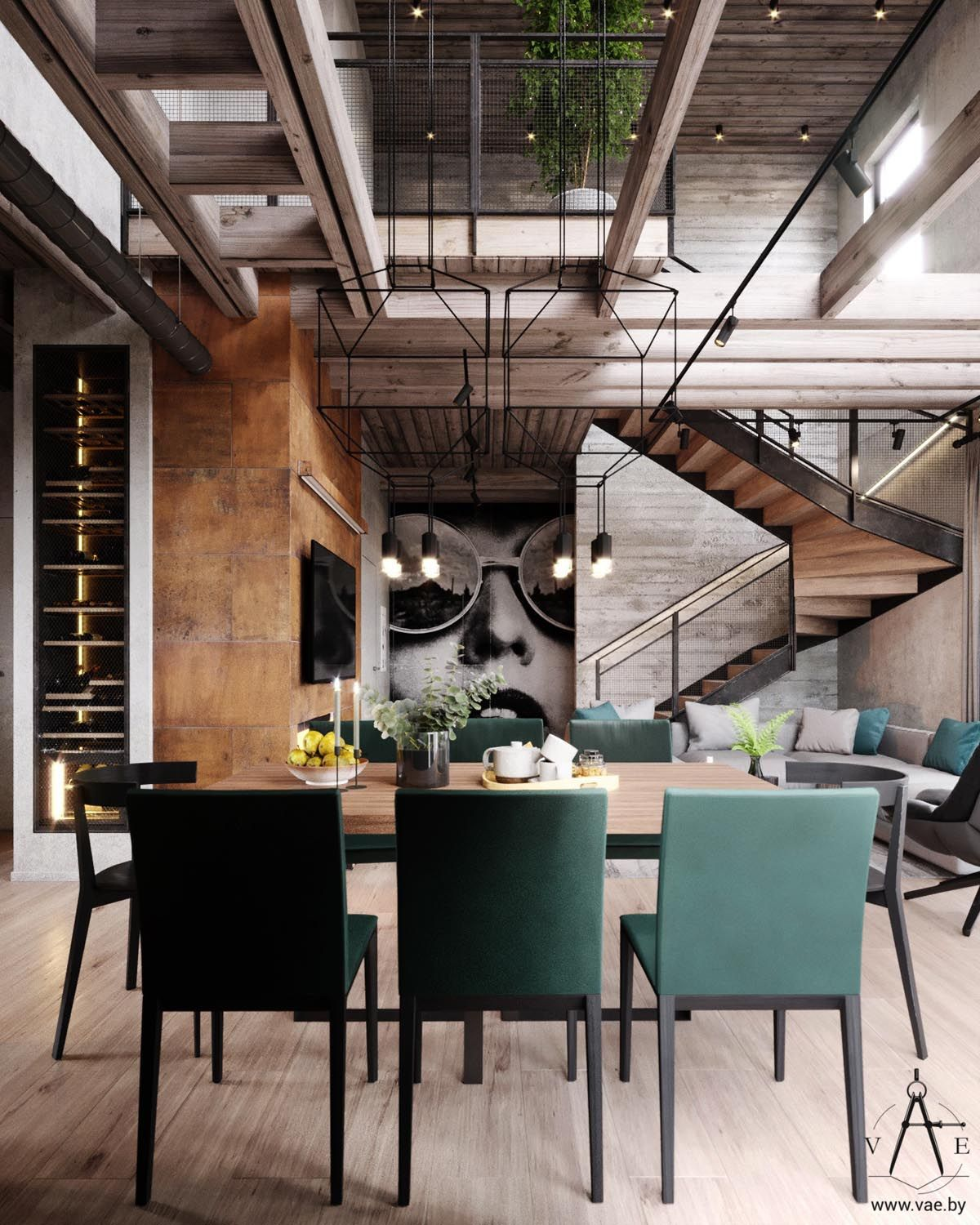 Warm Industrial Style House With Layout Industrial Decor