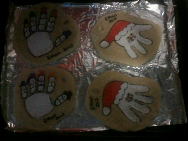 Salt dough handprints this would be easy with oven clay I think but still a cute idea