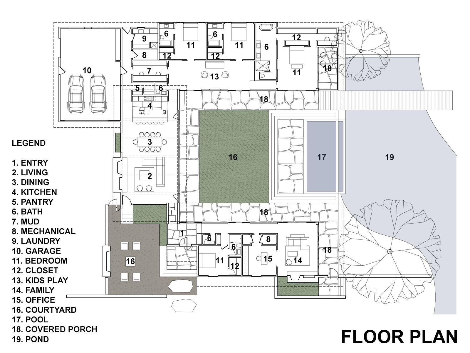 planos de casas modernas con patio interno