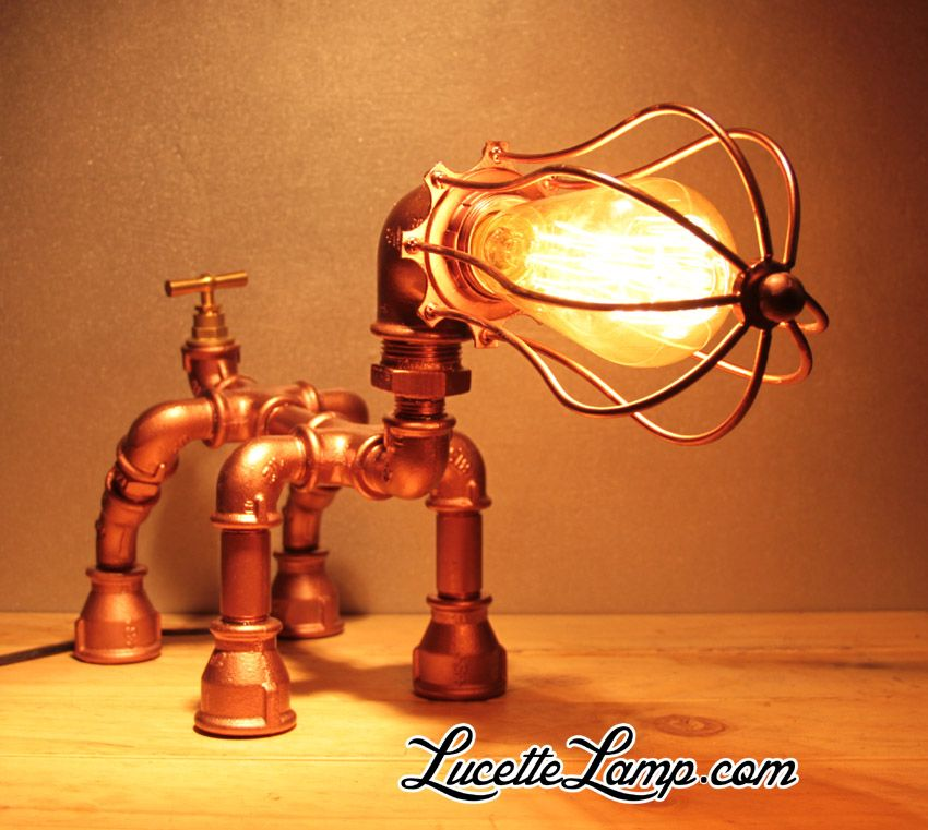 Industrial pipe lamp plomberie dogpipe lampe m tal loft for Agencement de stand
