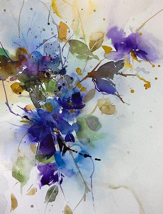 aquarel   Blumen   Watercolor, Watercolor flowers und ...