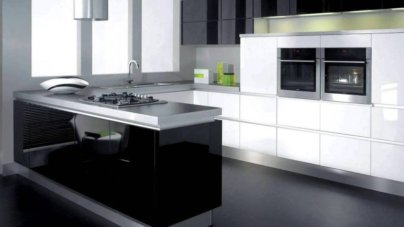 Kitchen, Modern Black And White Kitchens Stainless Steel Pull
