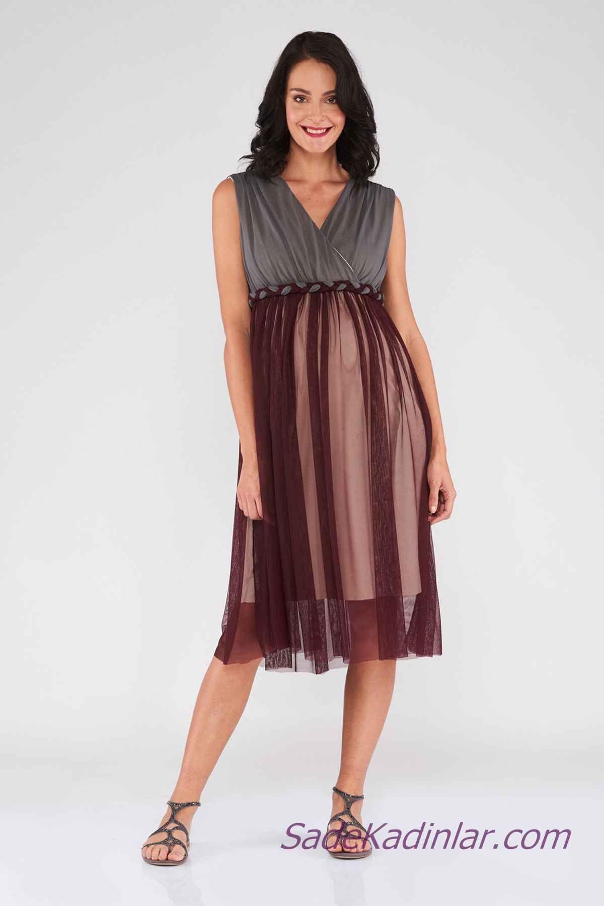 Hamile Abiye Elbise Modelleri Bordo Gri Iki Renkli V Yakali Kolsuz Tul Etekli Elbise Modelleri Elbise Moda Stilleri