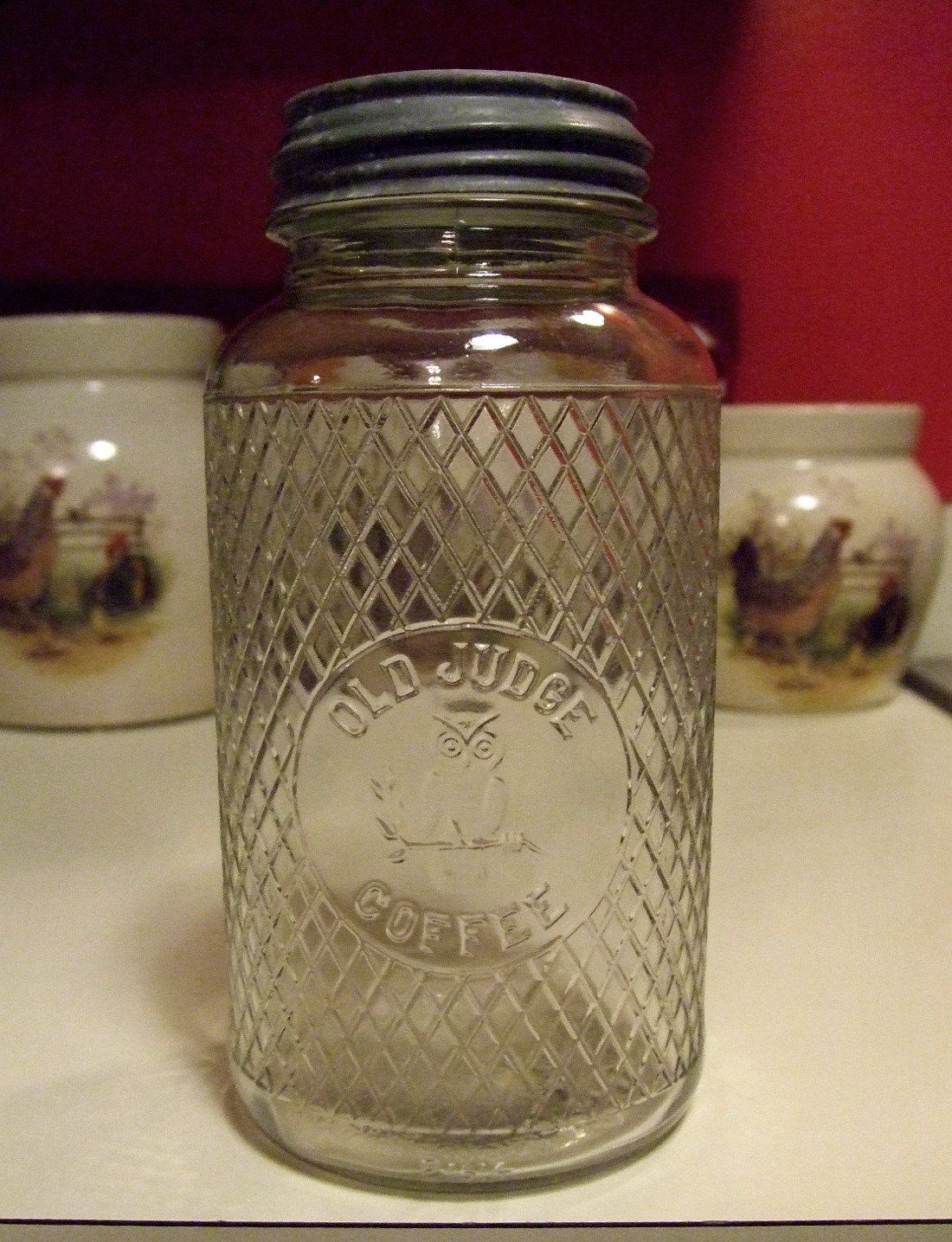 Anitque Old Judge Coffee Jar Owl Branch Picture Canister Jar