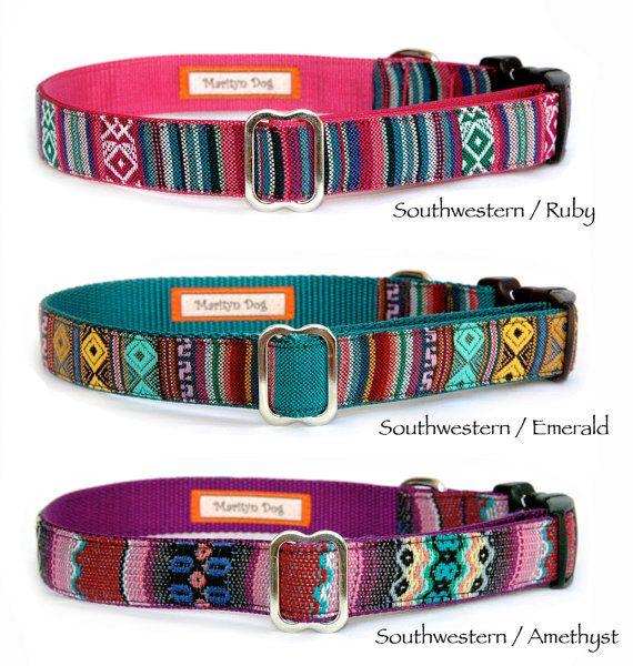 Dog collar dog leash Embroidered dog collar Southwestern Navajo Aztec boho  bohemian pink dog collar custom adjustable dog collar