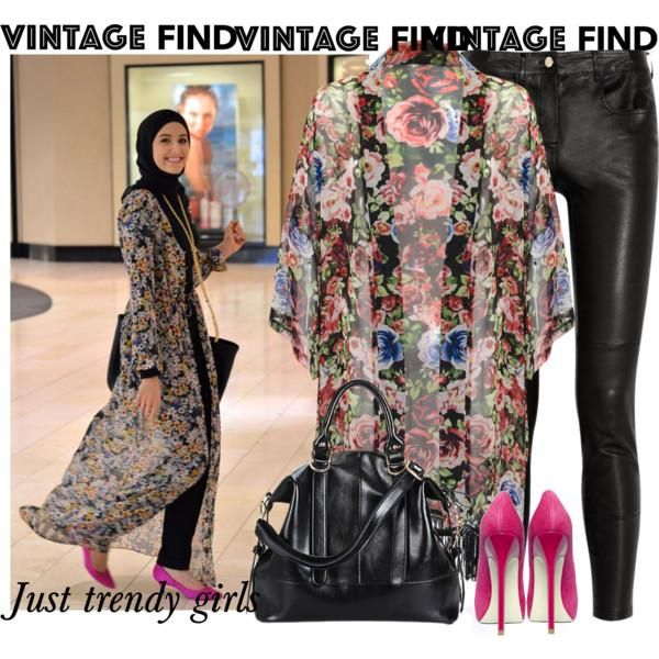 floral kimono cardigan outfit, Long kimono cardigan hijab style ...