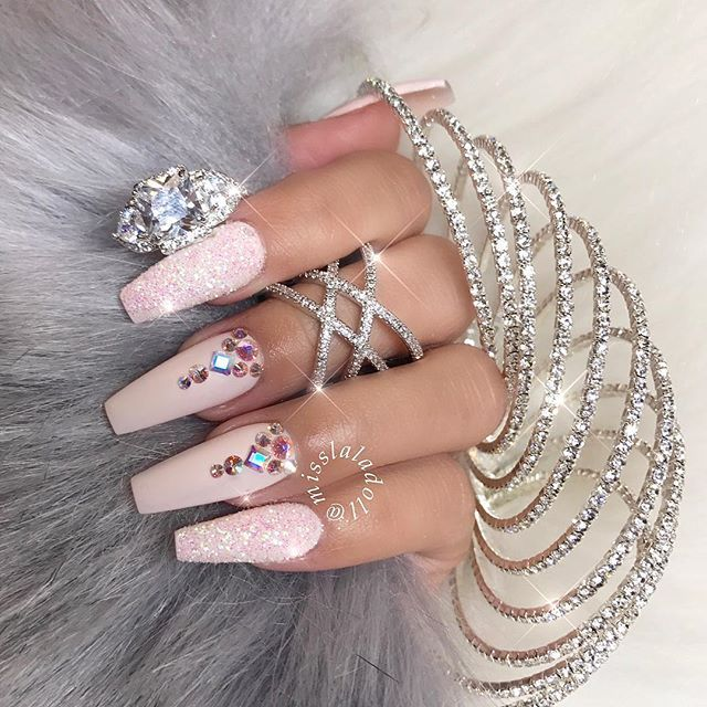 Pretty marshmallow pink ballerina manicure with glittering accent ...