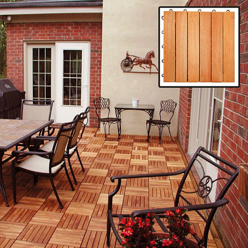 Outdoor Wood Deck Tiles Patio Snap Together Interlocking Decking Tile  Eucalyptus #Vifah