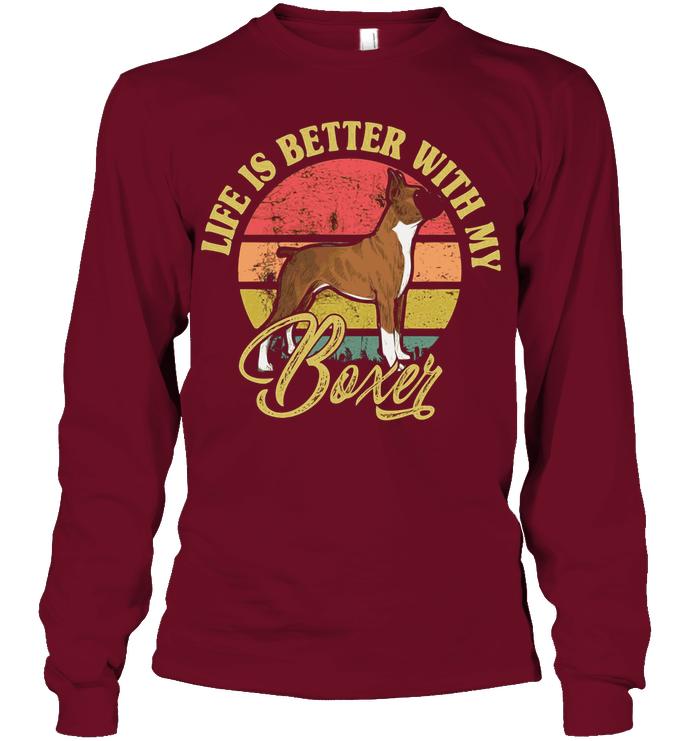 Boxer Boxer Dog Temperament Boxer Mix Boxer Traits Boxer Dog Facts Brindle Boxer Reverse Brindl With Images Long Sleeve Tshirt Men American Shirts Great T Shirts