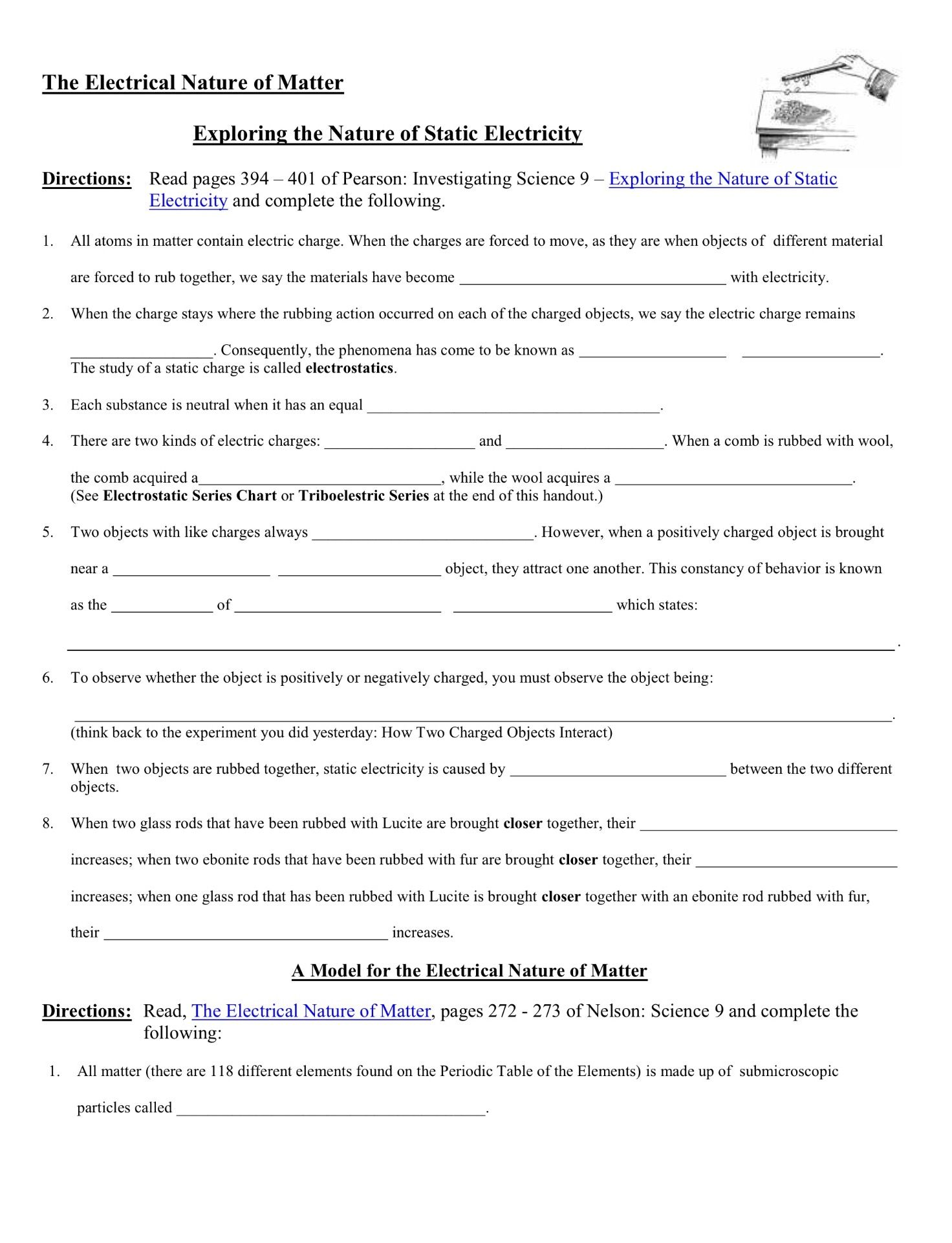 The Electrical Nature Of Matter Worksheet Tuesday February 19 2019 Literal Equations Matter Worksheets Pattern Worksheet