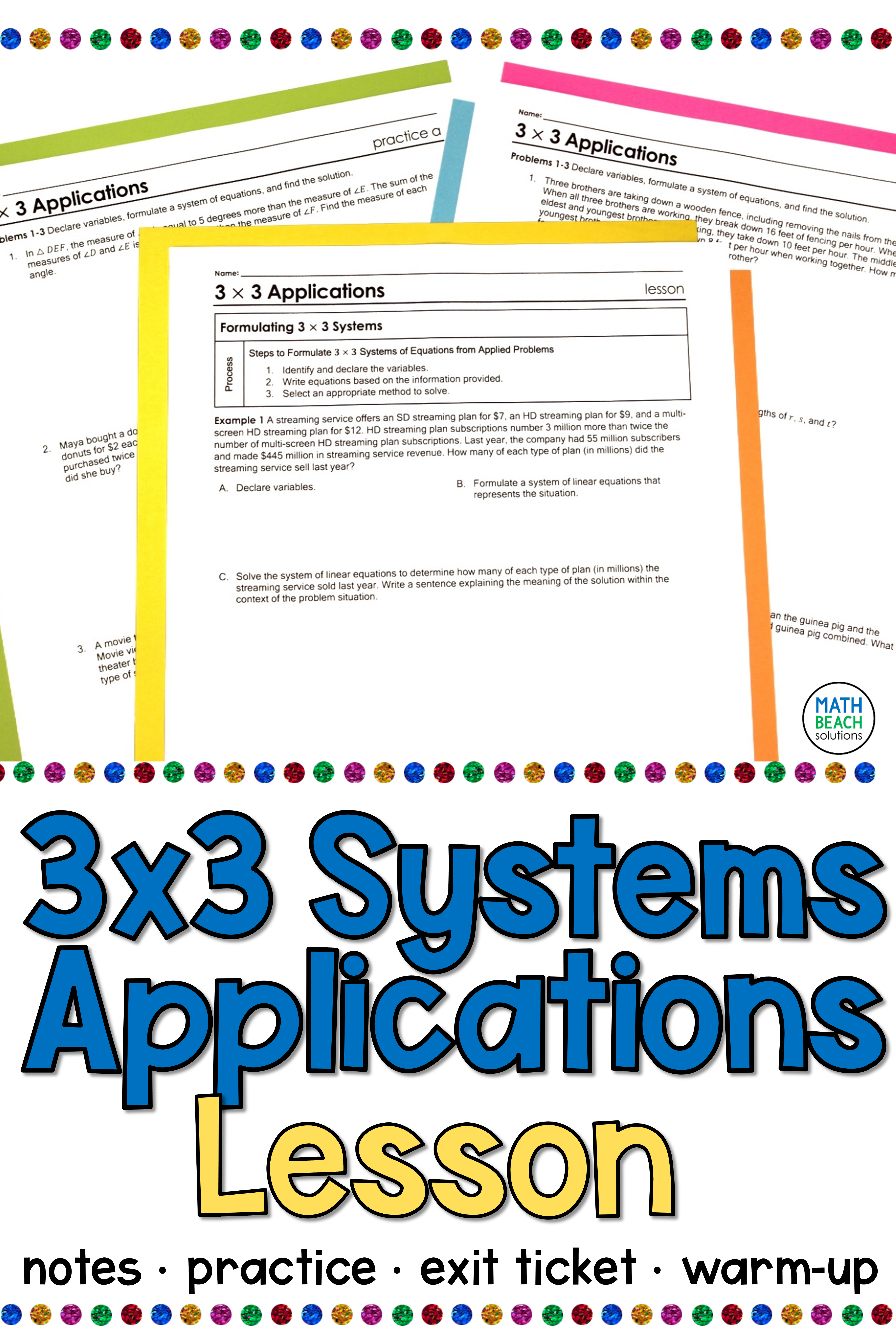 Applications of 3x3 Systems of Linear Equations Lesson