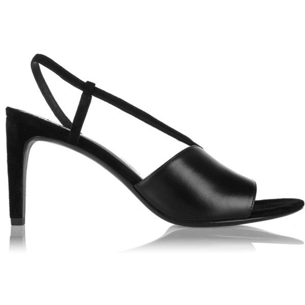 Alexander Wang Marion leather-paneled suede sandals (1,700 CNY) ❤ liked on Polyvore featuring shoes, sandals, black, alexander wang shoes, black leather sandals, black leather shoes, suede shoes and high heel shoes