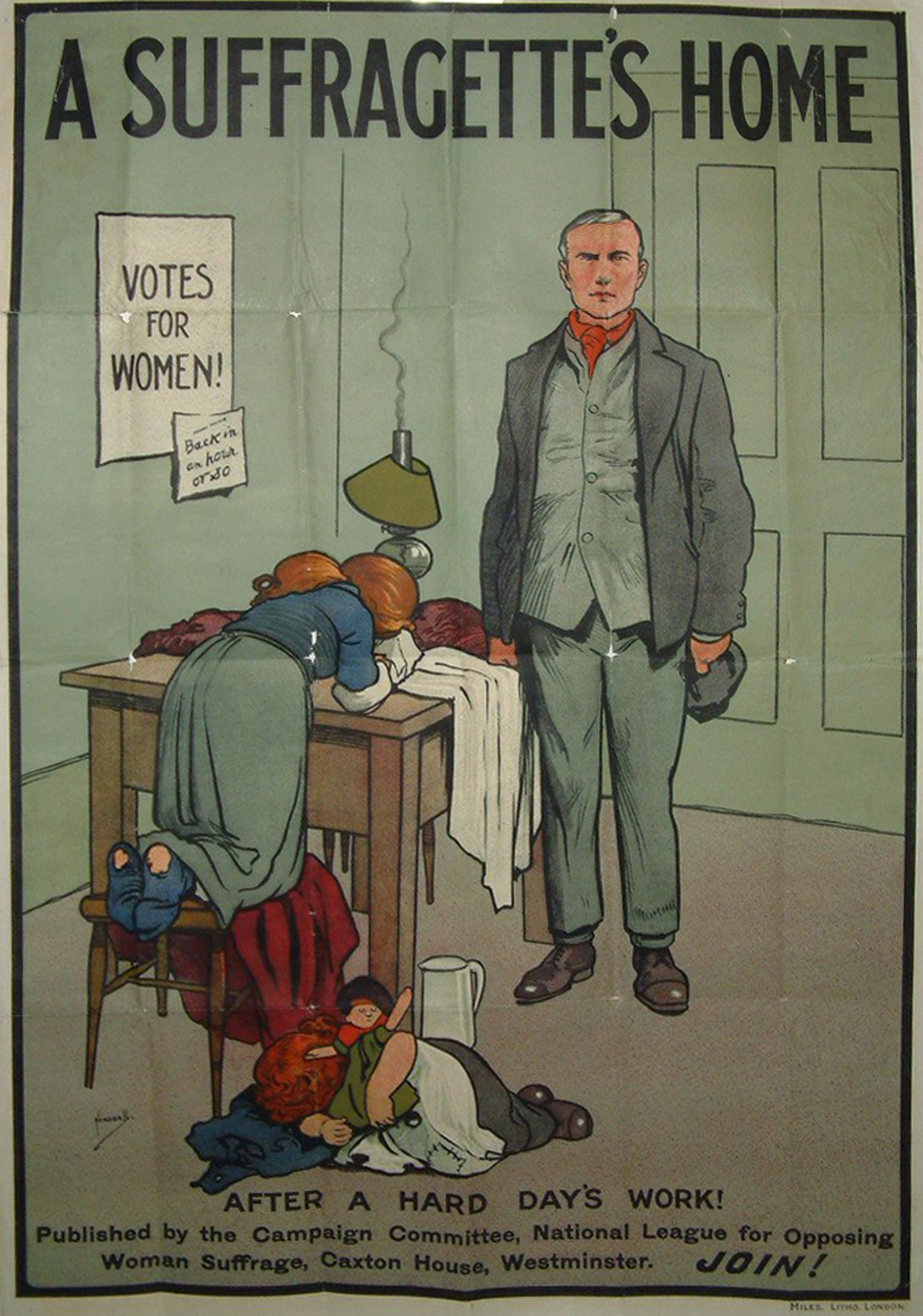 In This Anti Suffragette Poster A Suffragettes Home Is Depicted The Poster Is Trying To Get Across The Idea That A Women Suffragette Suffrage Anti Suffrage