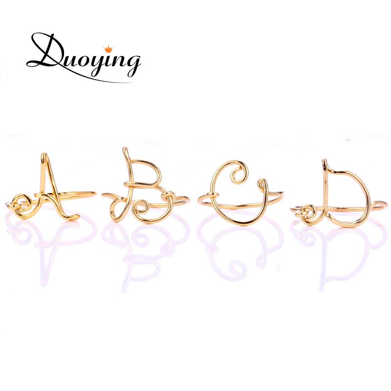 DUOYING Initial Name Ring For Women Handmade Custom Name Wire Ring ...