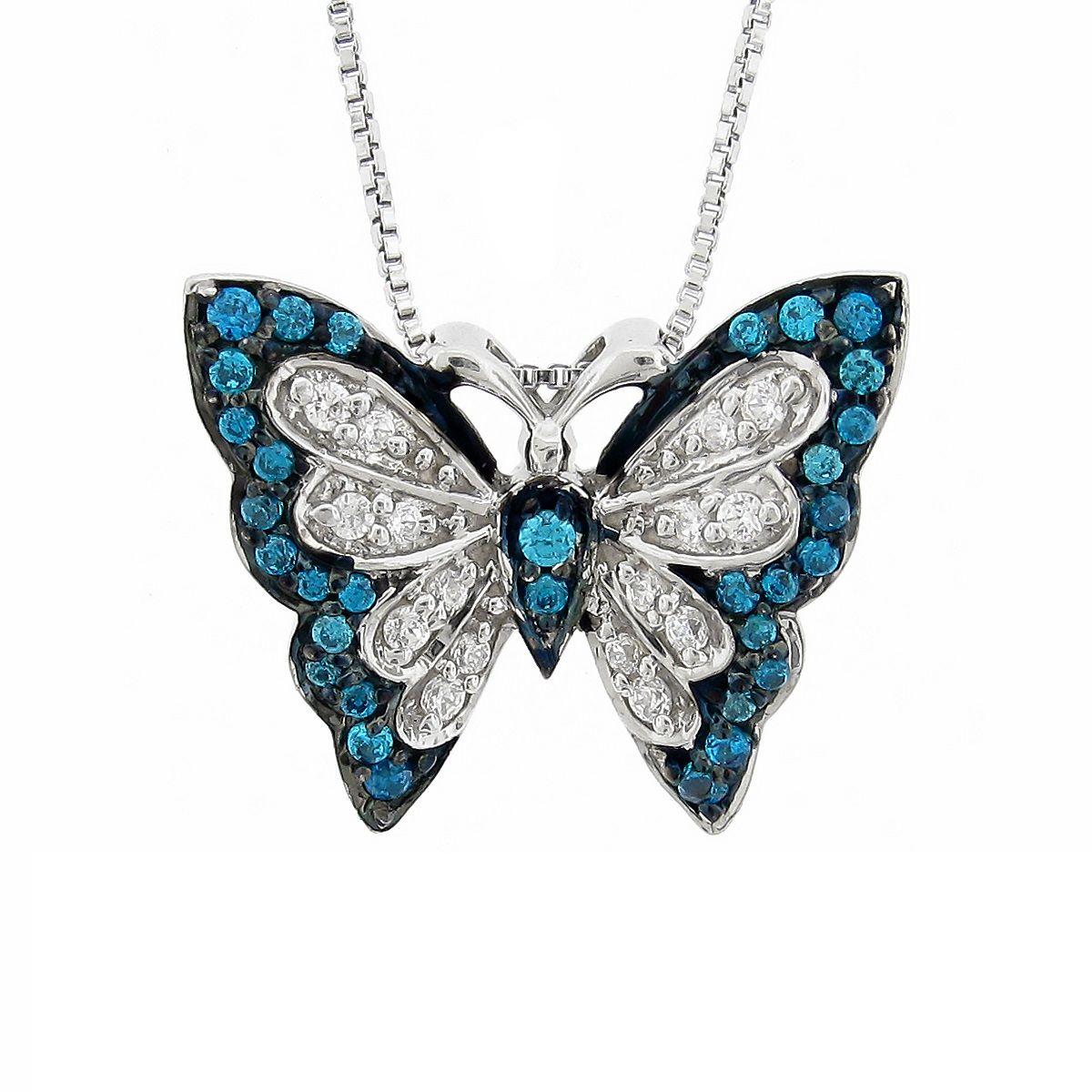 Silver Sky Blue Emperor Butterfly Diamond Necklace Steven