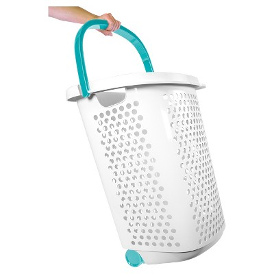 Home Logic Rolling Laundry Hamper With Handles White Teal White
