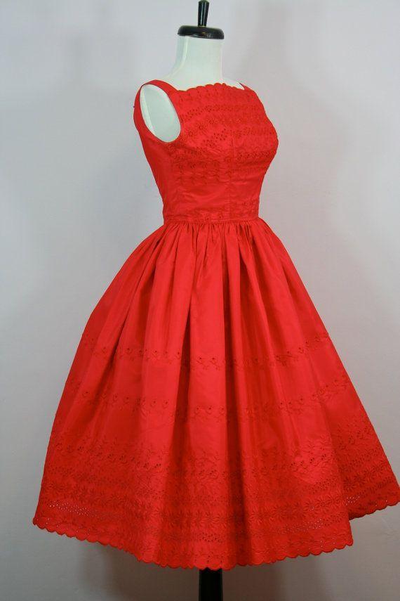 1950's Red Taffeta Eyelet Bodice Dress