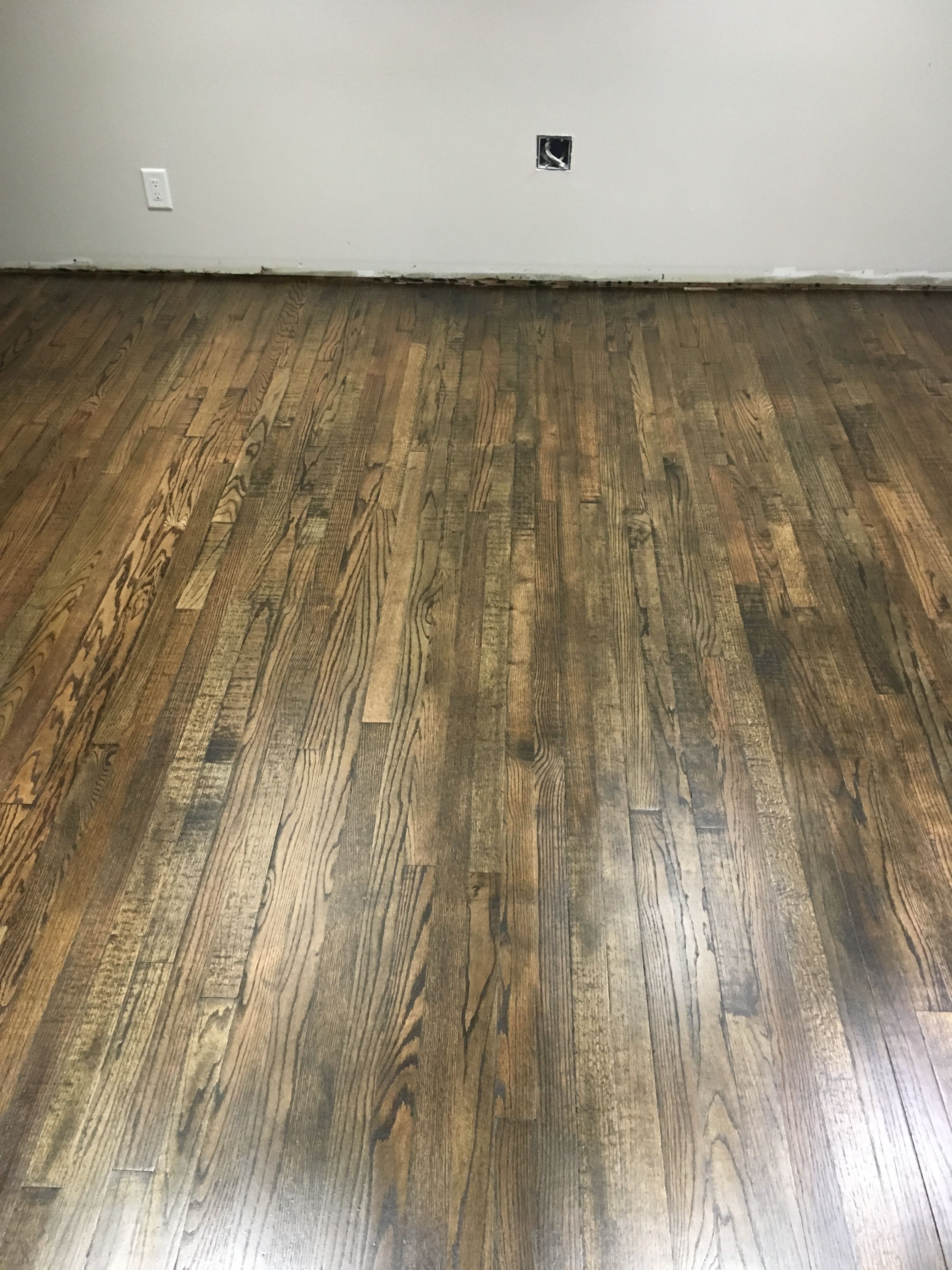Red oak with 50jacobean 50 Ebony minwax stain with satin