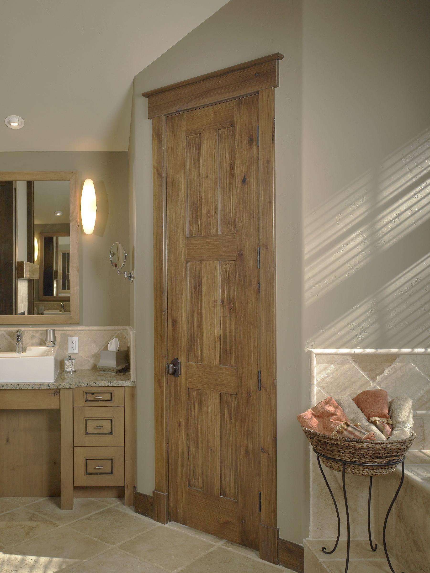 Rustic Craftsman Interior Master Bath Door Square Top Rail 6
