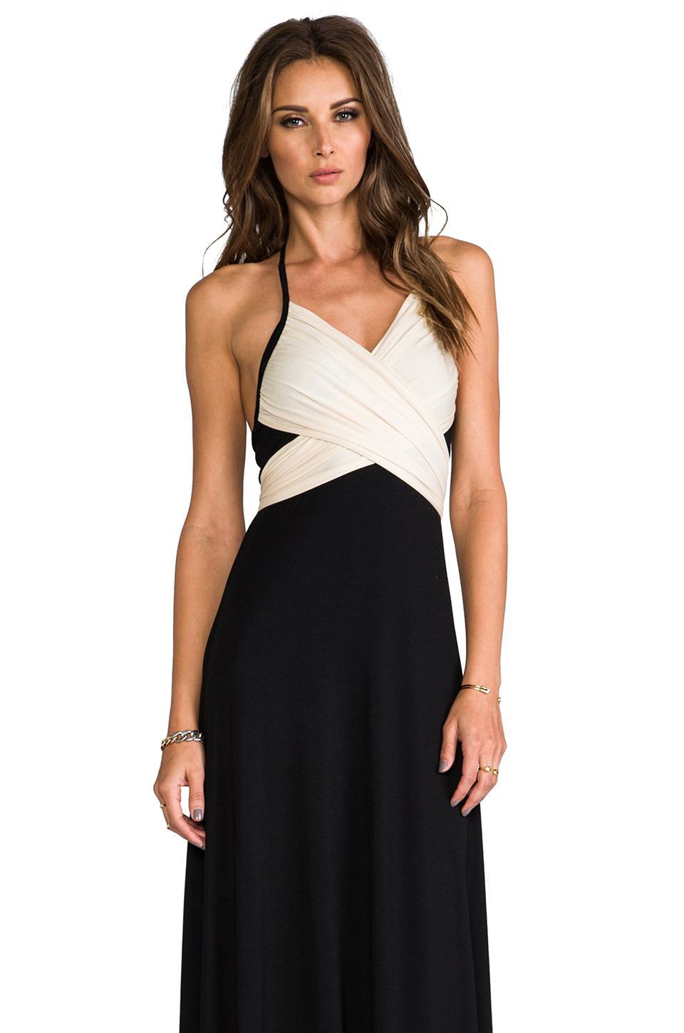 Revolveclothing rachelpally two tone halter dress in black and