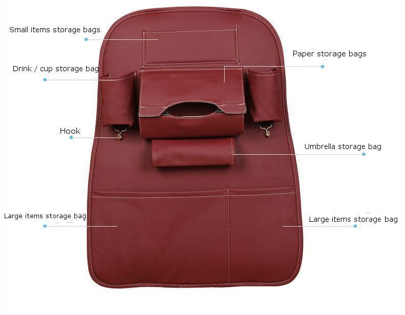5 Styles Leather Car Storage Bag Multi compartment Car Seat Storage