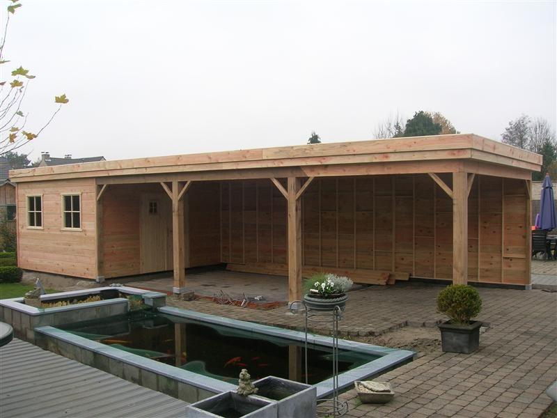 Houten tuinhuizen overkapping overdekt terras tuinhuizen plat dak pinterest tuinhuizen - Buiten terras model ...