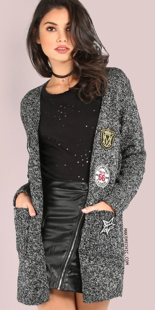 5e1428ad887 Peppered Vintage Patch Knit Cardigan BLACK