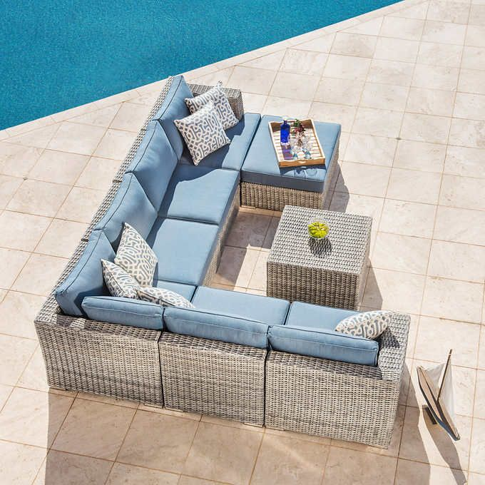 Niko 8 Piece Modular Seating Set In Slate By Sirio 2500 At Costco Sumbrella Fabric Good Reviews Although Say Very Low And Hard Cushions