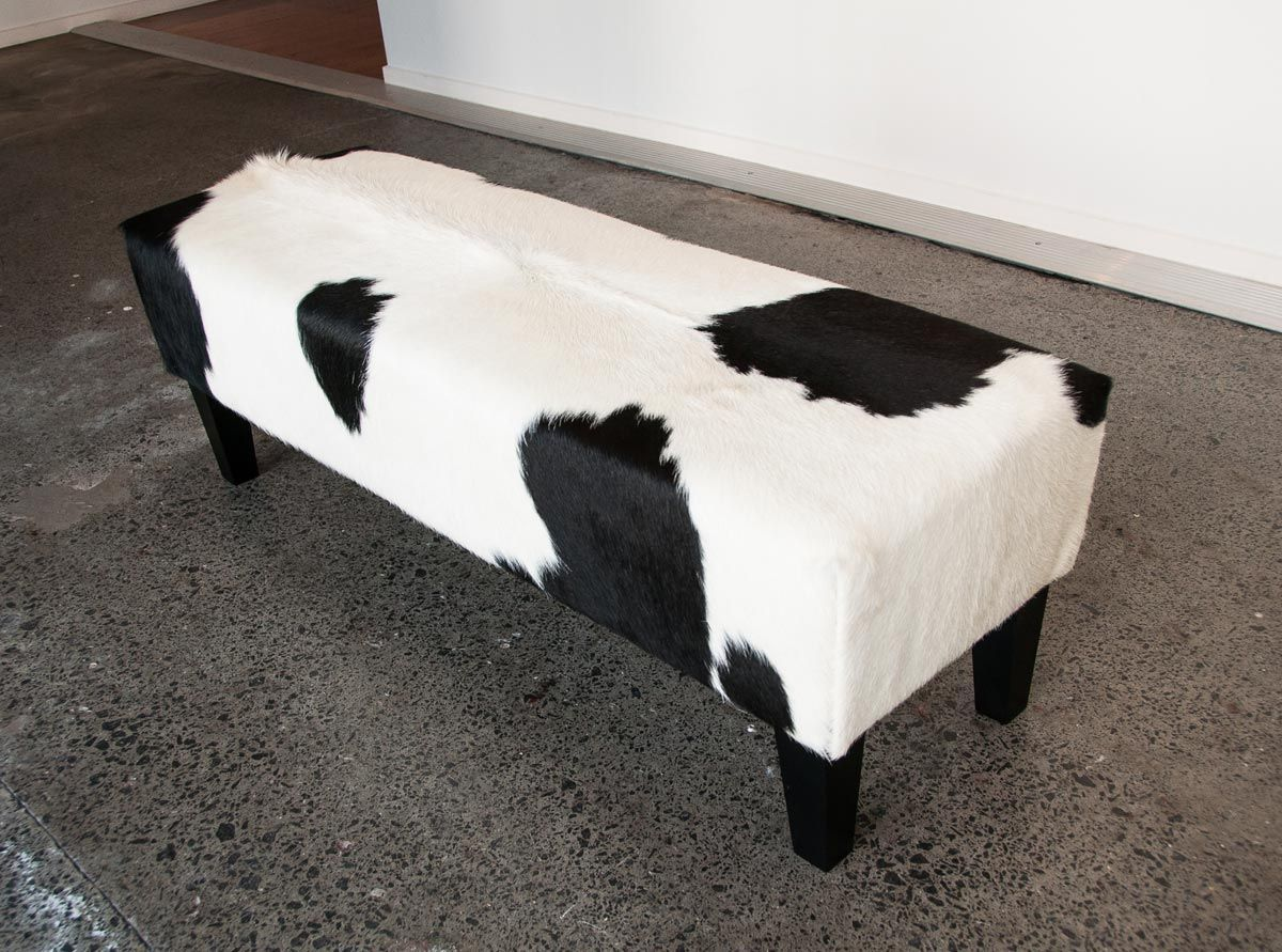 A beautiful modern black and white cowhide ottoman by Gorgeous ...