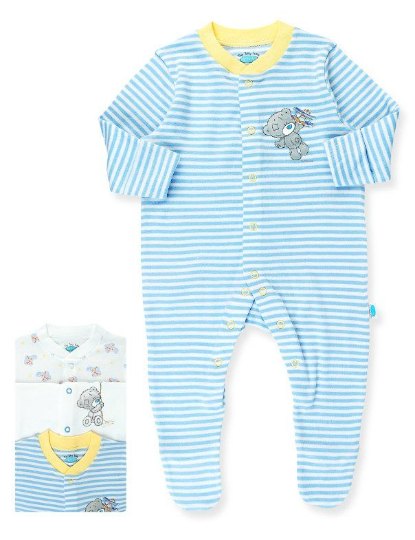 Best 3 Pack Pure Cotton Tatty Teddy Assorted Sleepsuits Baby 640 x 480