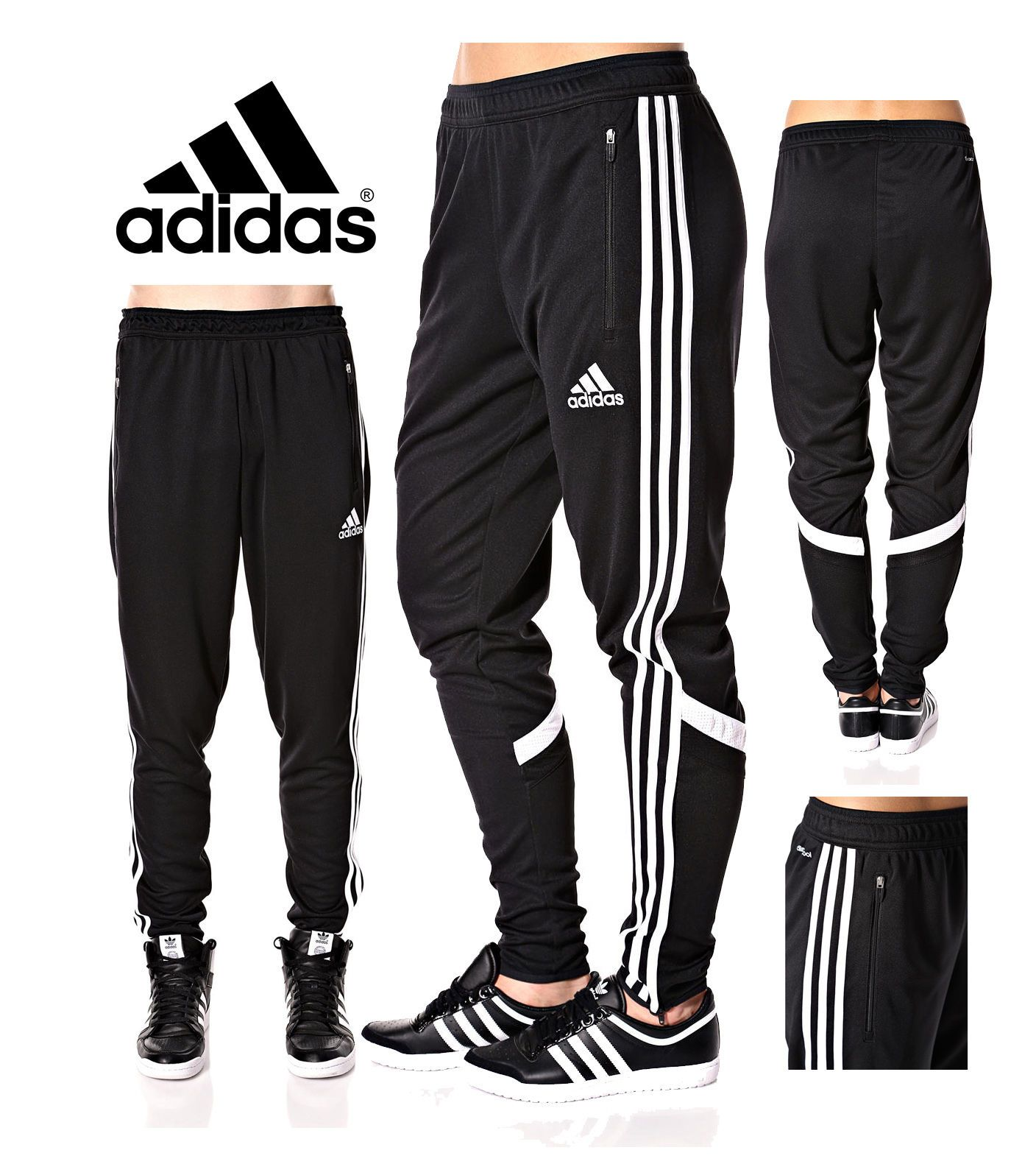 e6c1fd2b8230 Adidas Soccer Pants Condivo 14 Slim Fit Training ClimaCool Black Skinny  Athletic