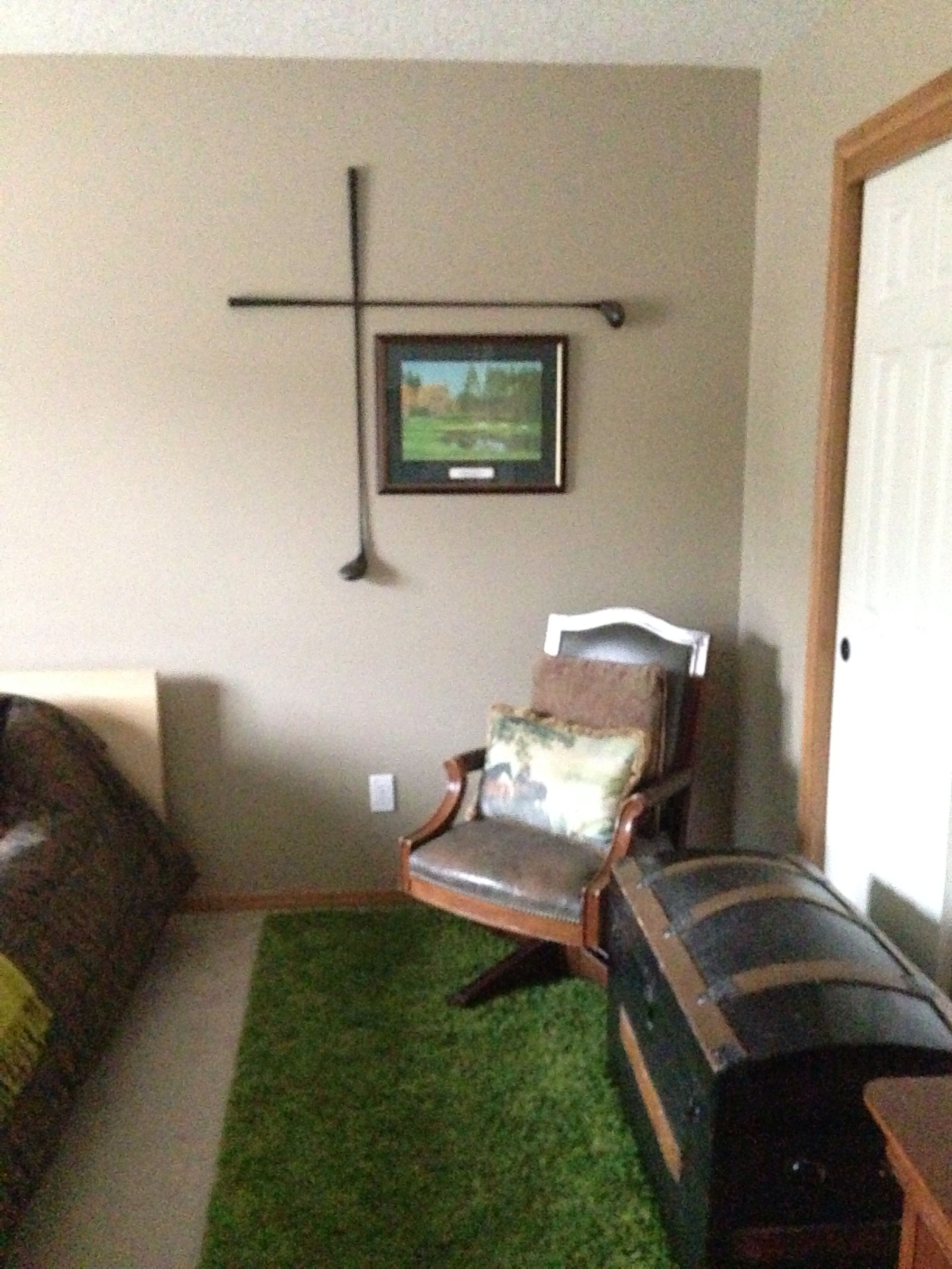Guest room. Hubby had a Great Wall art idea for the golf/horse ...